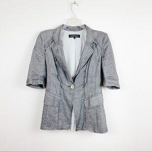 Nanette Lepore Gray Tailored Long Linen Blazer C44